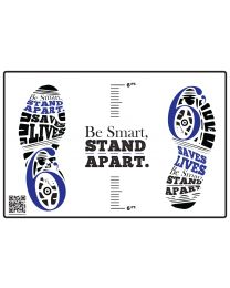 Be Smart, Stand Apart Floor Decal - Blue (10/Pack) - Give a Pack