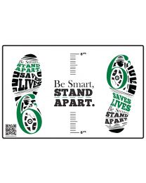 Be Smart, Stand Apart Floor Decal - Green (10/Pack) - Give a Pack