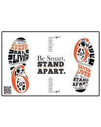 Be Smart, Stand Apart Floor Decal - Orange (10/Pack) - Give a Pack