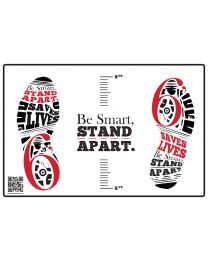 Be Smart, Stand Apart Floor Decal - Red (10/Pack) - Give a Pack