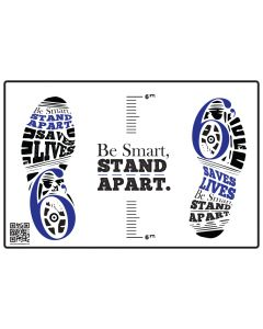 Be Smart, Stand Apart Floor Decal - Blue (10/Pack)