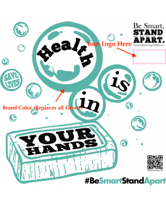 Be Smart, Stand Apart Mirror Cling - Health is in Your Hands - Custom (5/Pack)
