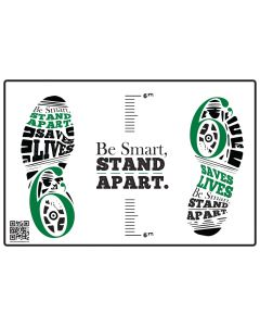Be Smart, Stand Apart Floor Decal - Green (10/Pack)