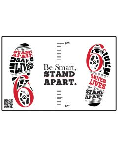 Be Smart, Stand Apart Floor Decal - Red (10/Pack)